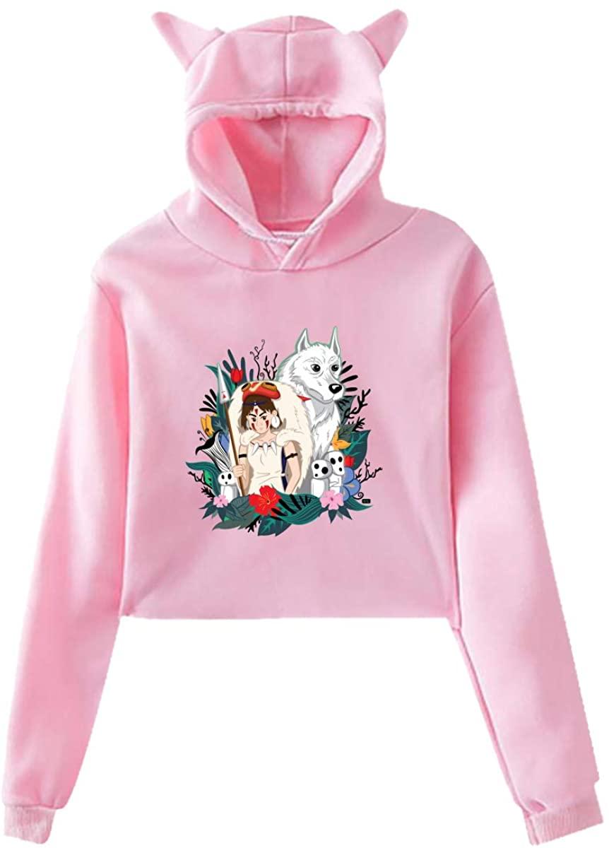 Princess Mononoke Womens Girls Cute Long Sleeve Sexy Hoodie Cat Ear Hoodie Sweater All-Match