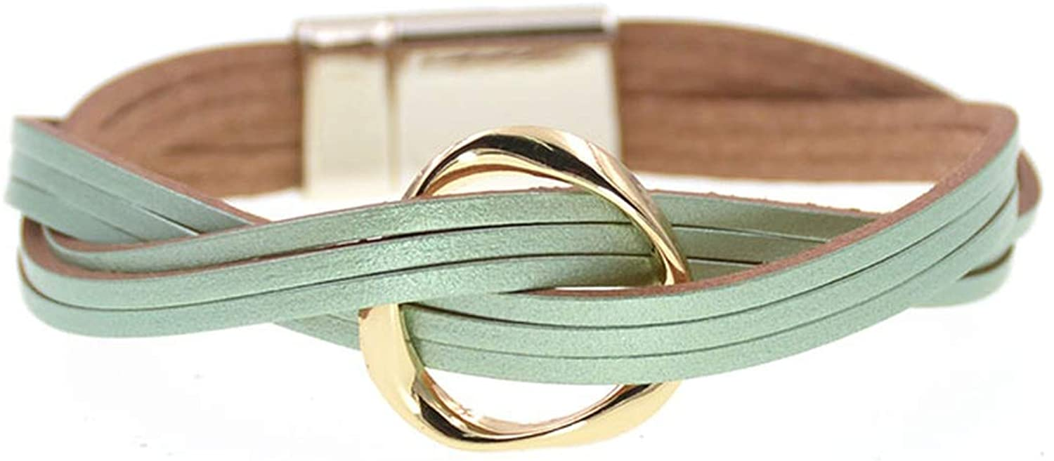 18 Colors charm Leather Bracelets For Women & Men Multiple Layers wrap Bracelets Couple gifts Jewelry,green,20cm