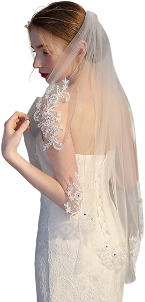 Fdesigner Wedding Veil Lace Crystal Edge Bride Headpieces Chapel Veils Bridal Hair Accessories with Comb 1T (Ivory Ⅱ)