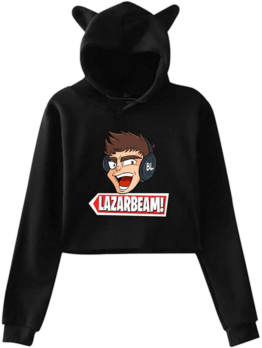 Women's Cat Ear Hoodie Sweater Sweatshirt Lazarbeam Elegant and Simple Design Black