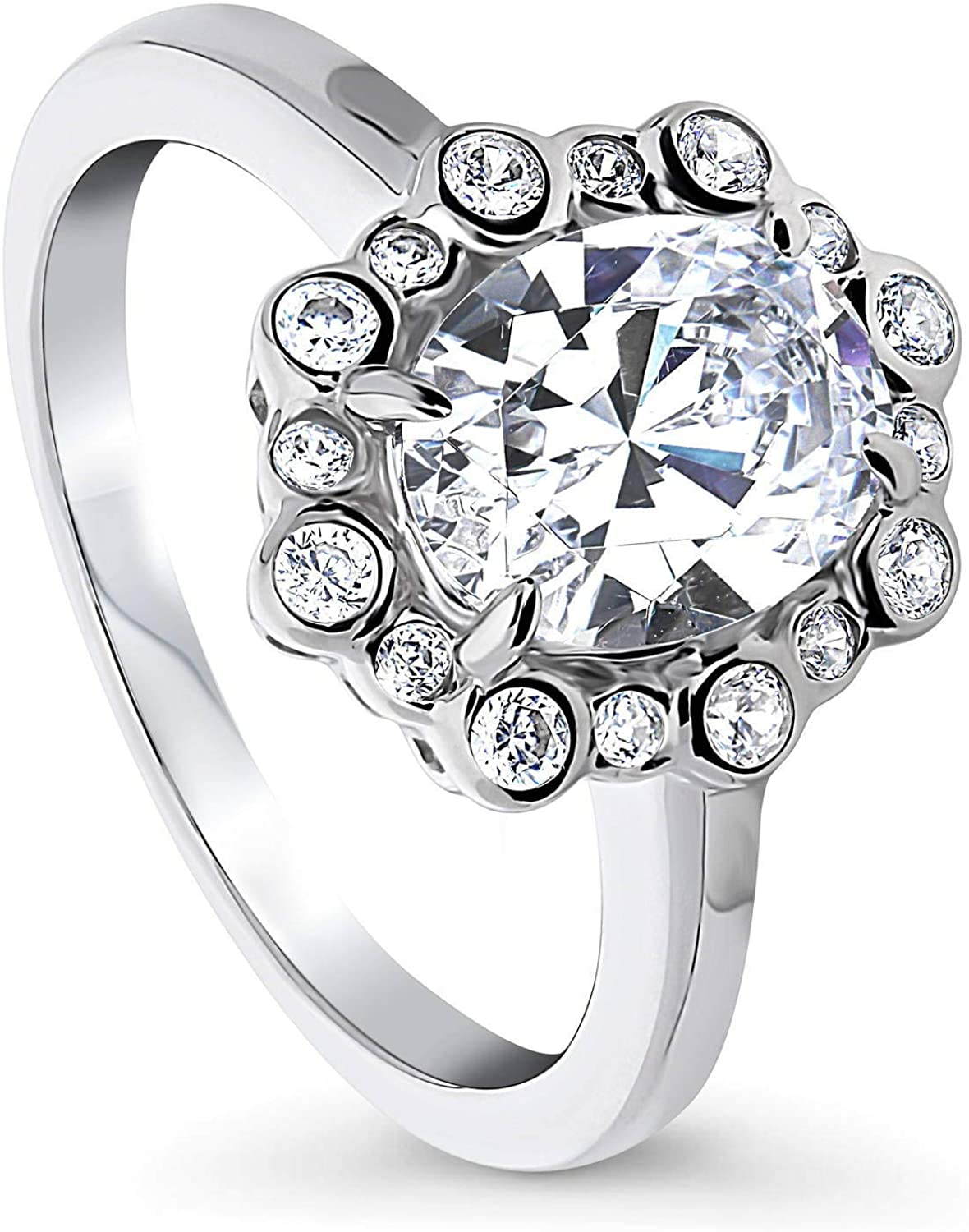 BERRICLE Rhodium Plated Sterling Silver Oval Cut Cubic Zirconia CZ Bubble Halo Promise Engagement Ring 2.1 CTW
