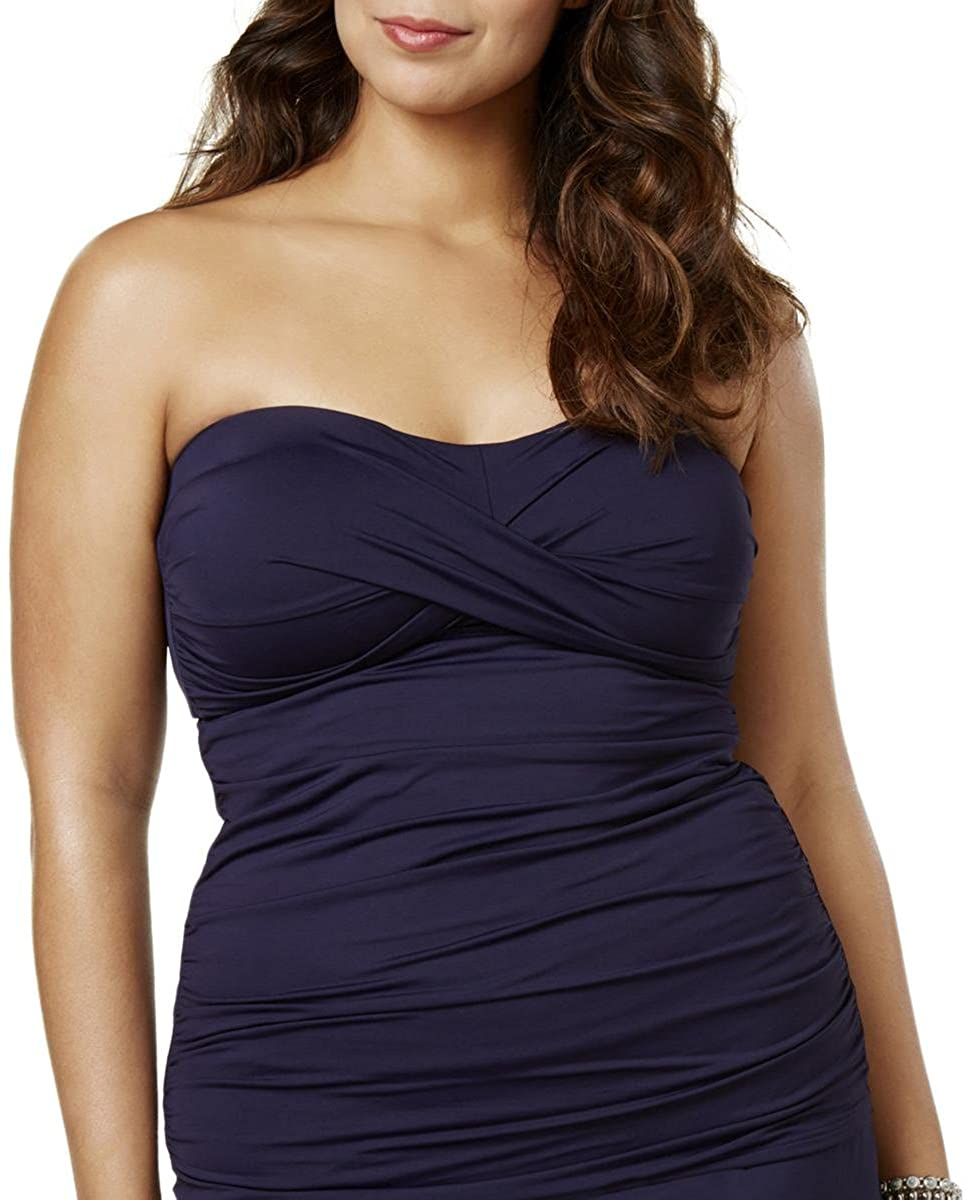 Anne Cole Women's Plus Size Twist Front Bandeau Shirred Swim Tankini Top w/Detachable Straps in Dark Navy 22W