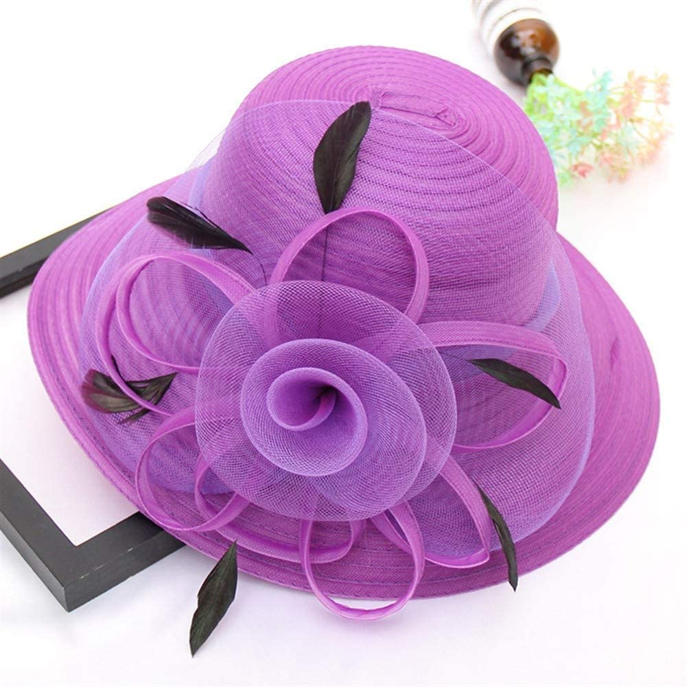MADONG The New 2019 Spring and Summer Organza hat Feather Flower Fashion Wedding hat Large Brimmed Sun hat Dome Beach