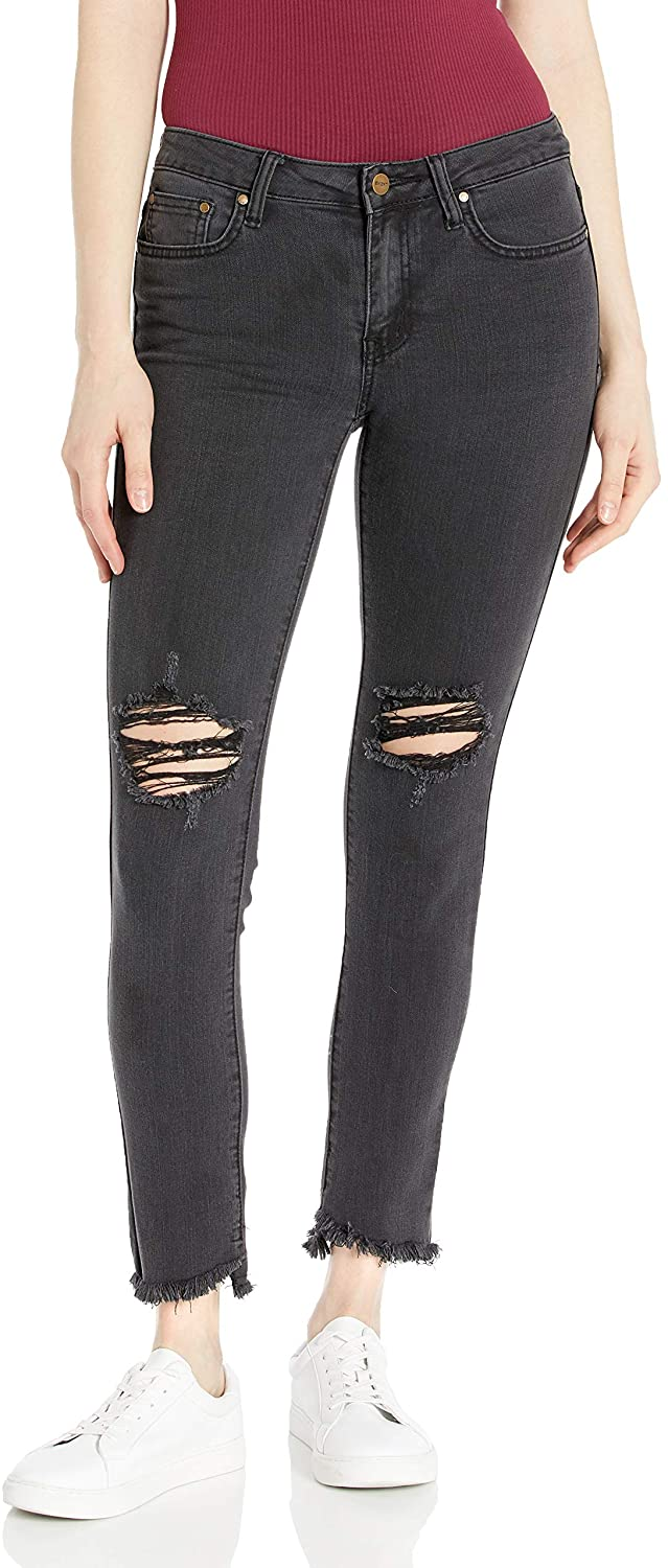 EVIDNT Women's Tate Skinny MID-Rise Distressed Frayed Jean