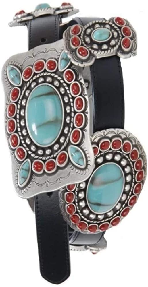 Cowgirl Kim 3-D Turquoise and Coral Concho Belt~ Black
