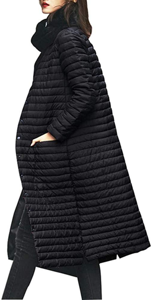 Dotoo White Duck Down Winter Ladies Temperament Warm Striped Long Down Jacket Coat