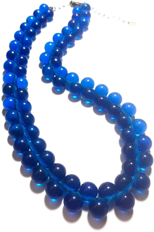 Leetie Lovendale Aqua Blue Button Vintage Lucite Beaded Marco Necklace