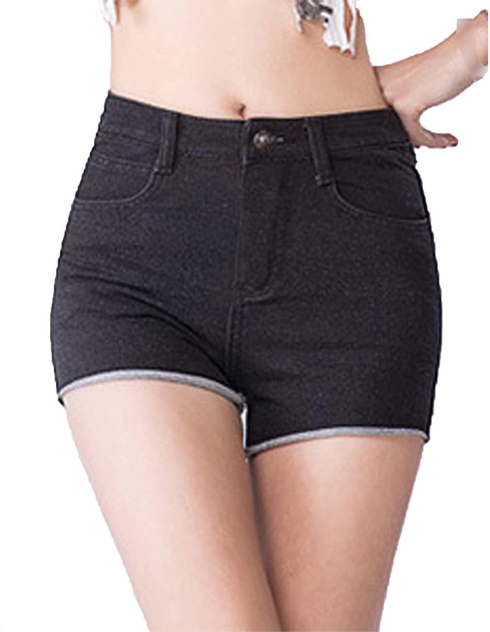 KJY Women's High Waist Stretch Denim Shorts