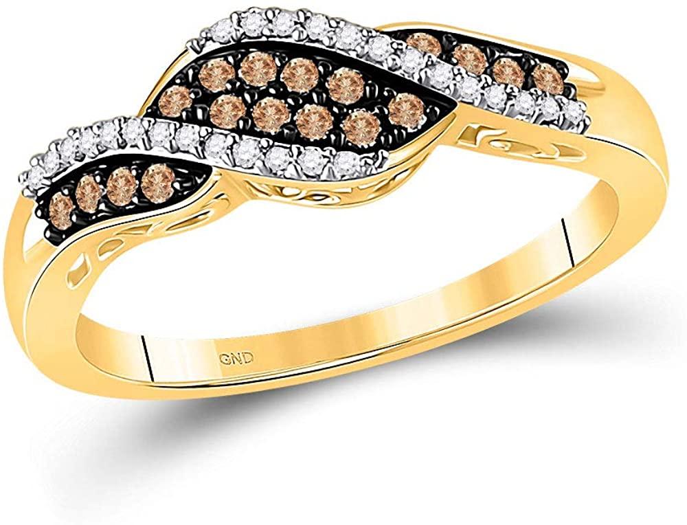 Solid 10k Yellow Gold Round Chocolate Brown Diamond Band Engagement Wedding Anniversary Ring 1/5 Ct.