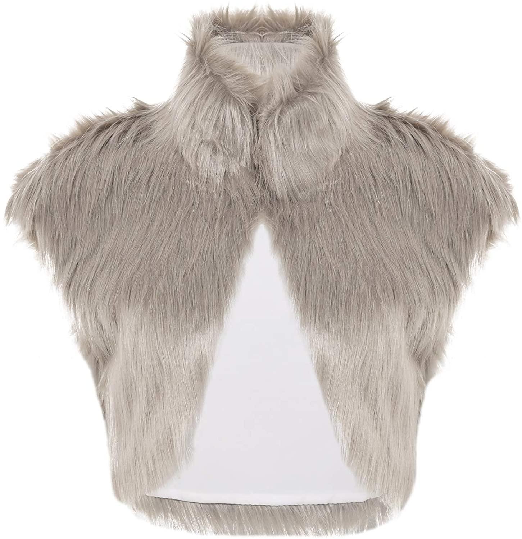 YiZYiF Fashion Women Cap Sleeve Faux Fur Waistcoat Short Vest Jacket Coat Outwear