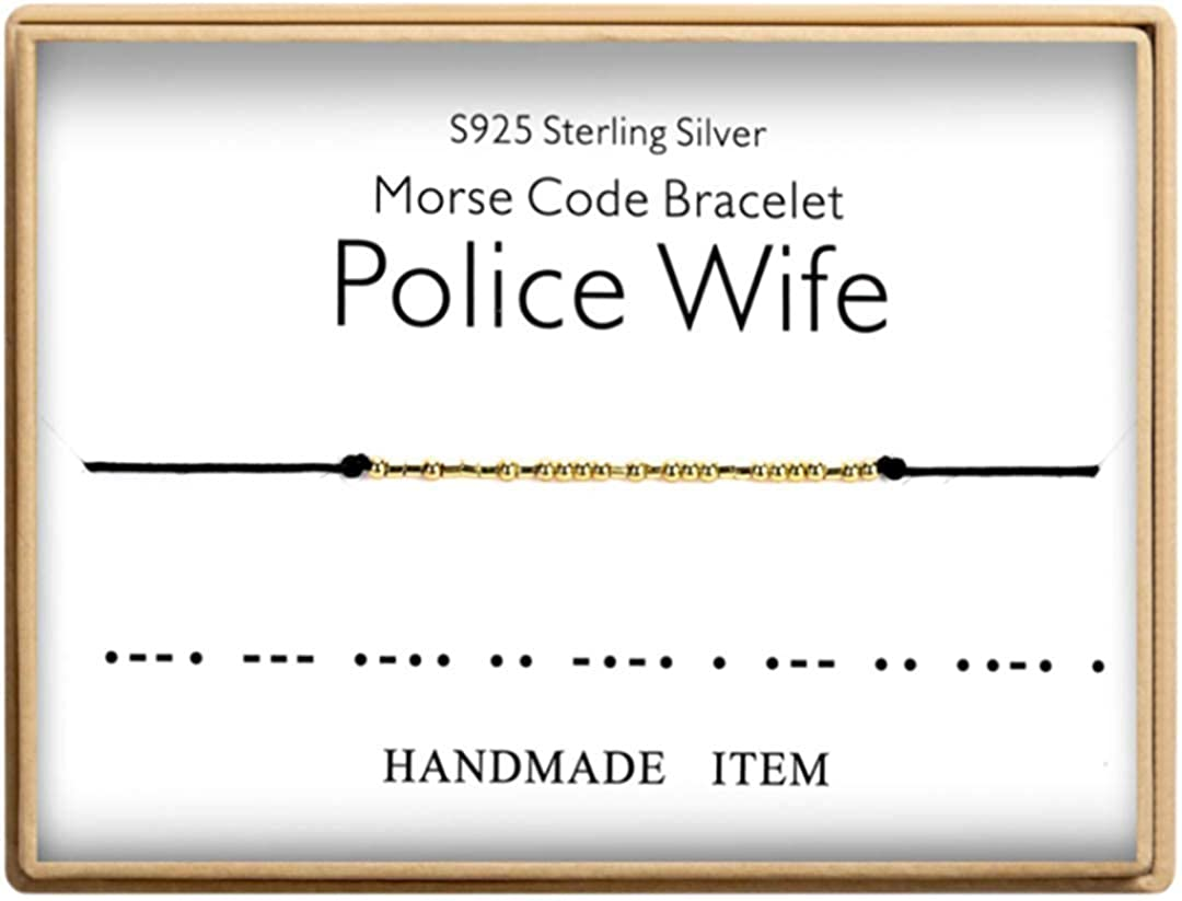 Morse Code Bracelet 925 Sterling Silver Handmade 14K Real Gold Plated Bead Adjustable String Wife Bracelet Bracelets Birthday Gifts for Police Wife