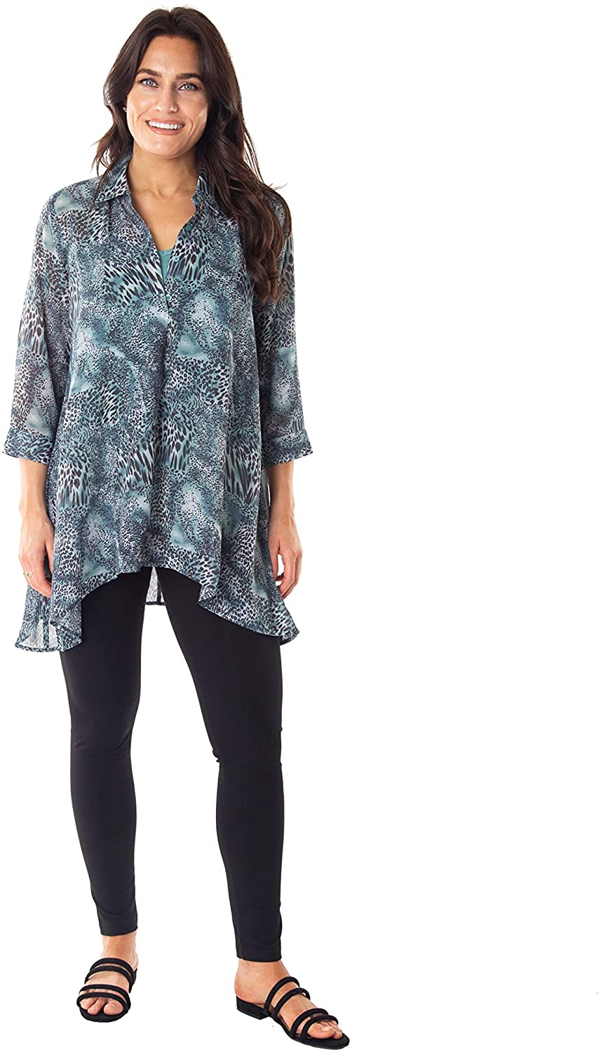 Caffe Marrakesh Womens 3/4 Sleeve Printed Georgette Top with Inner Tank Top