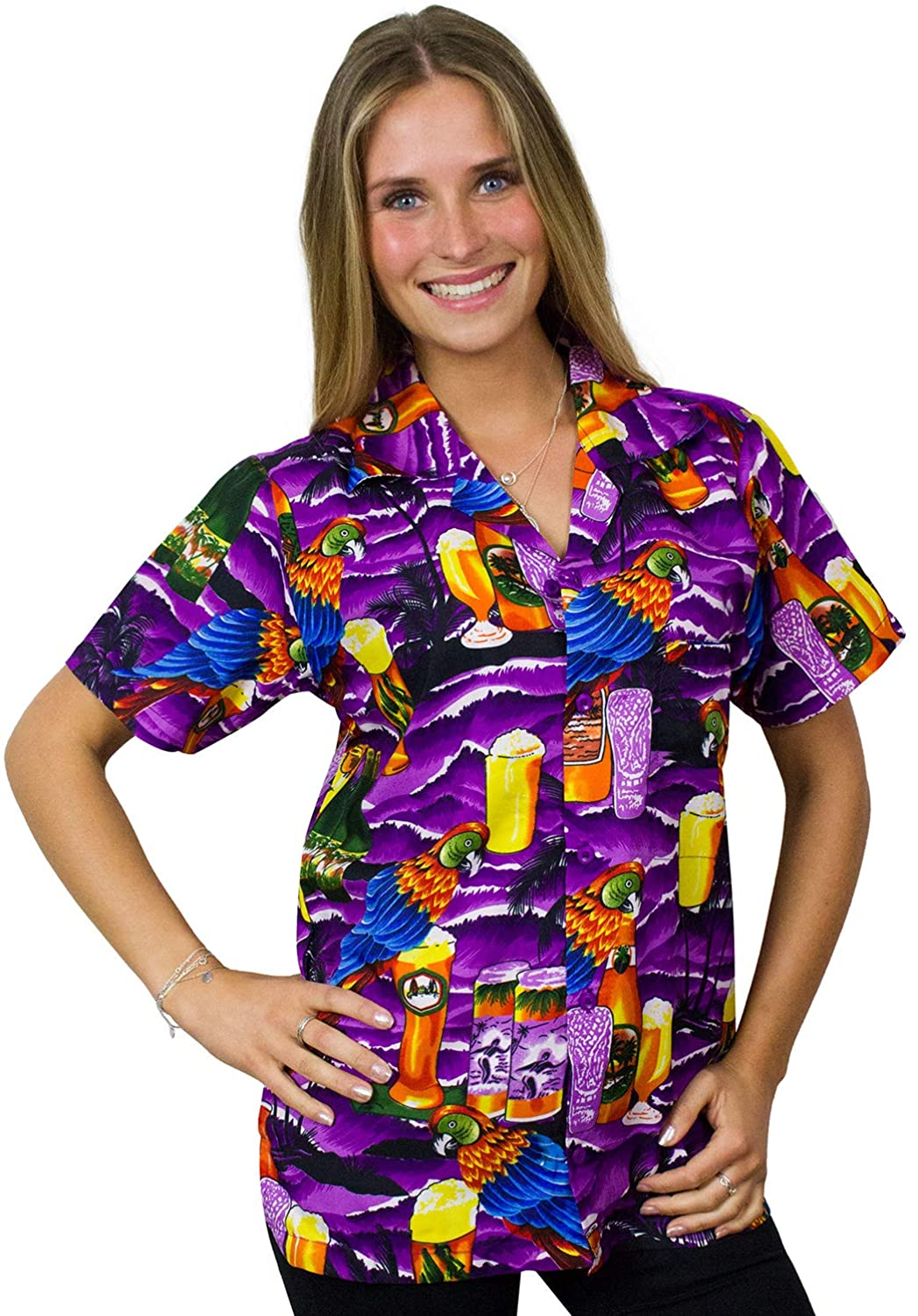 Hawaiian Blouse Shirt for Women Funky Casual Button Down Very Loud Shortsleeve Unisex Parrot Beerbottle