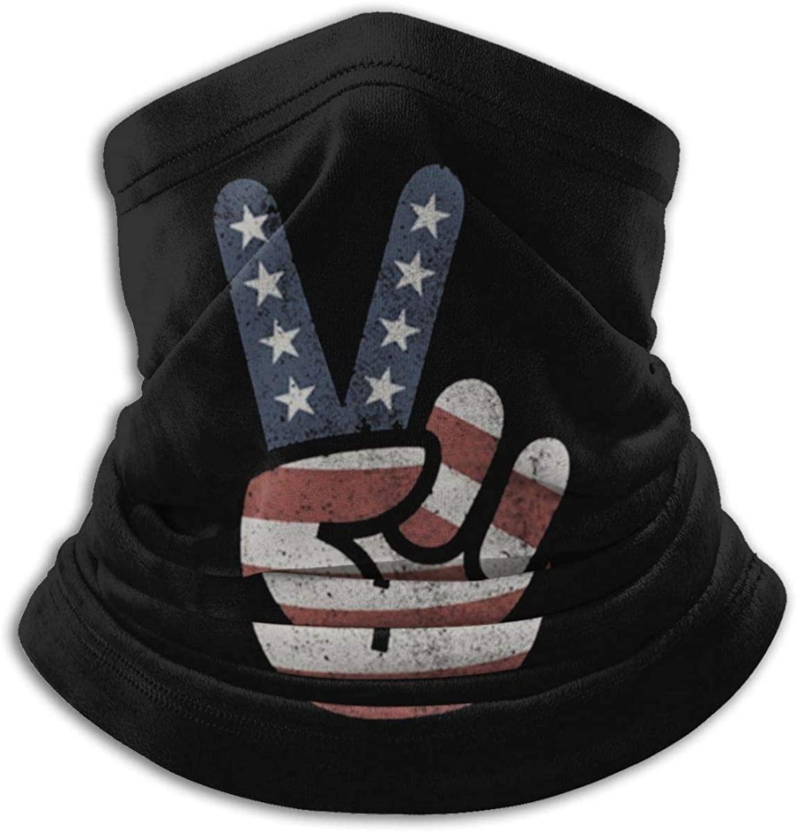 Vintage American Flag Peace Sign USA Neck Warm Scarf Outdoor Reusable Face Mask Bandana
