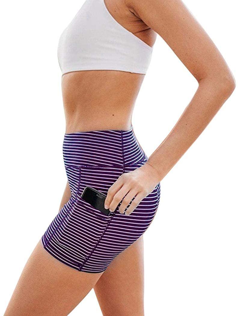 Goodfans Women Casual Stripe Pattern High Waist Hip-Lift Yoga Shorts Shorts Purple