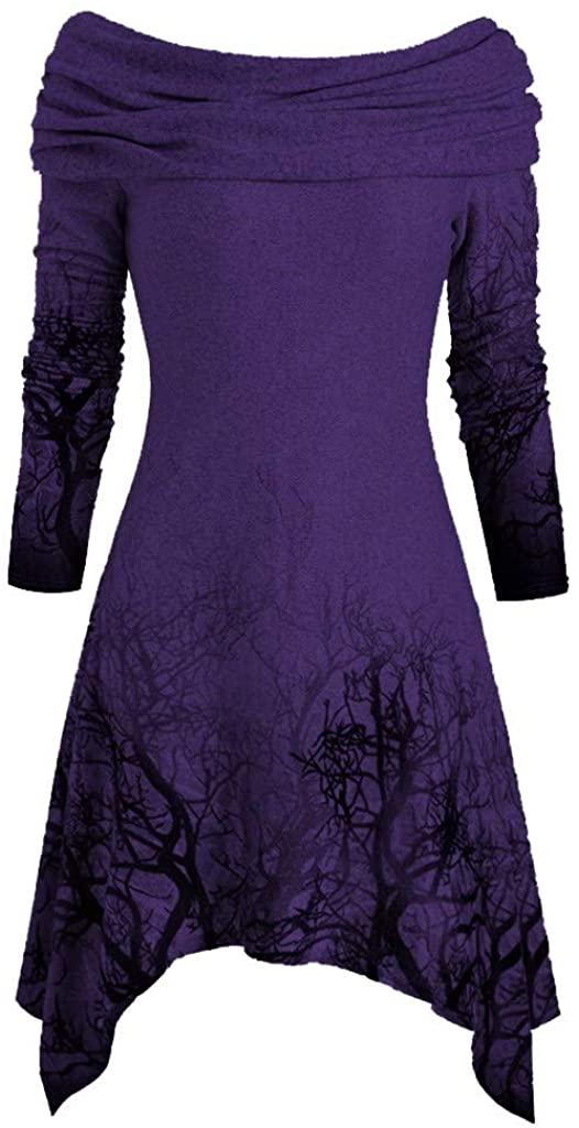 Mimfor Women's Halloween Tree Print Convertible Collar Asymmetrical Knitwear Cloak Tops