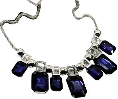 Janvi Enterprises Blue Color Traditional Stylish Party Wear German Silver Oxidized Grey Beaded Stone/Crystal Necklace for Women & Girls
