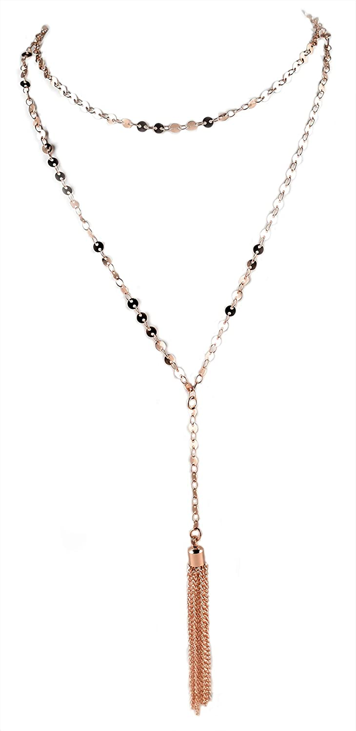 QQ&U Layered Necklace with Tassel Pendant for Women
