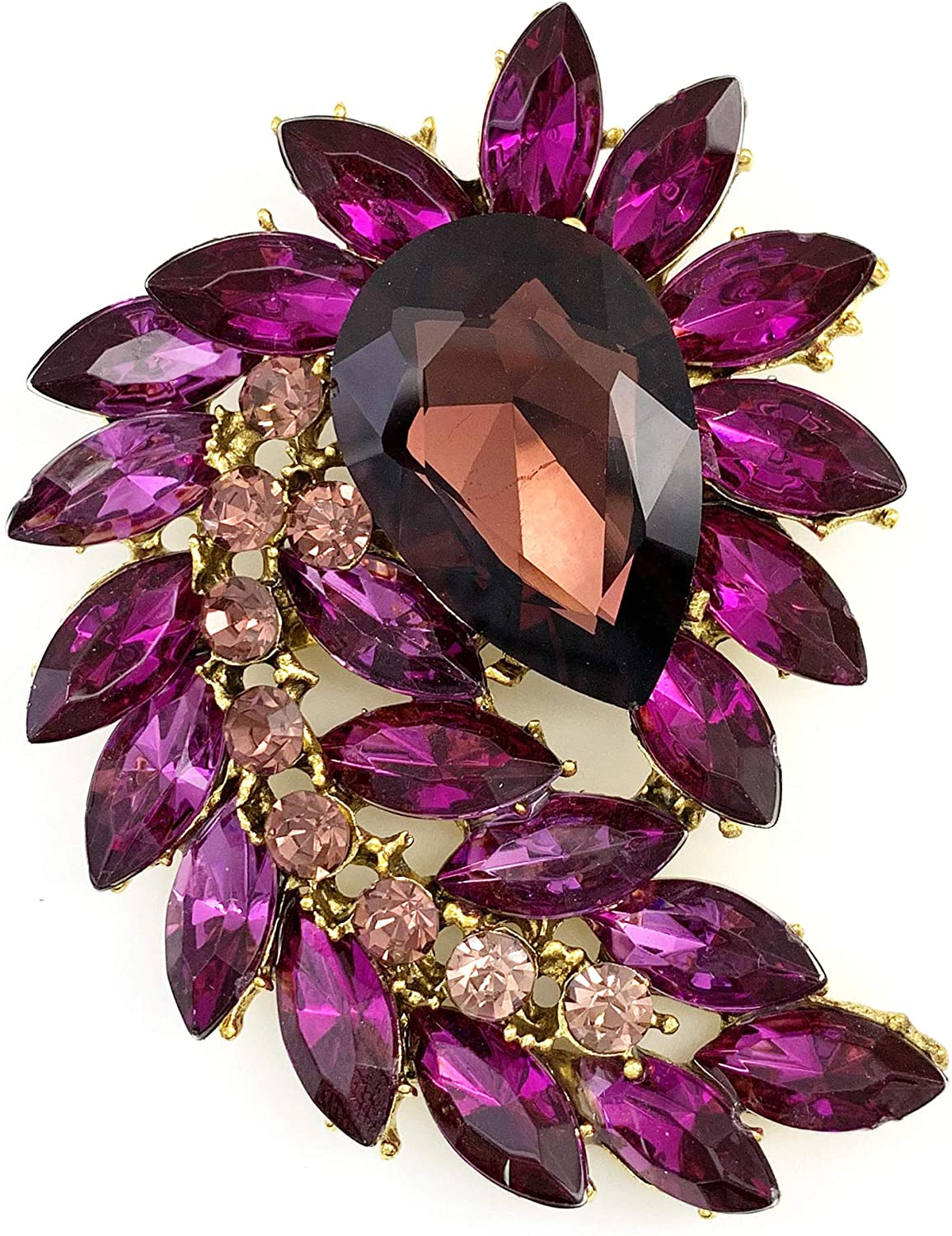 SELOVO Jewelry Marquise Shape Large Rhinestone Flower Purple Statement Brooch Pin Antiqued Gold Tone