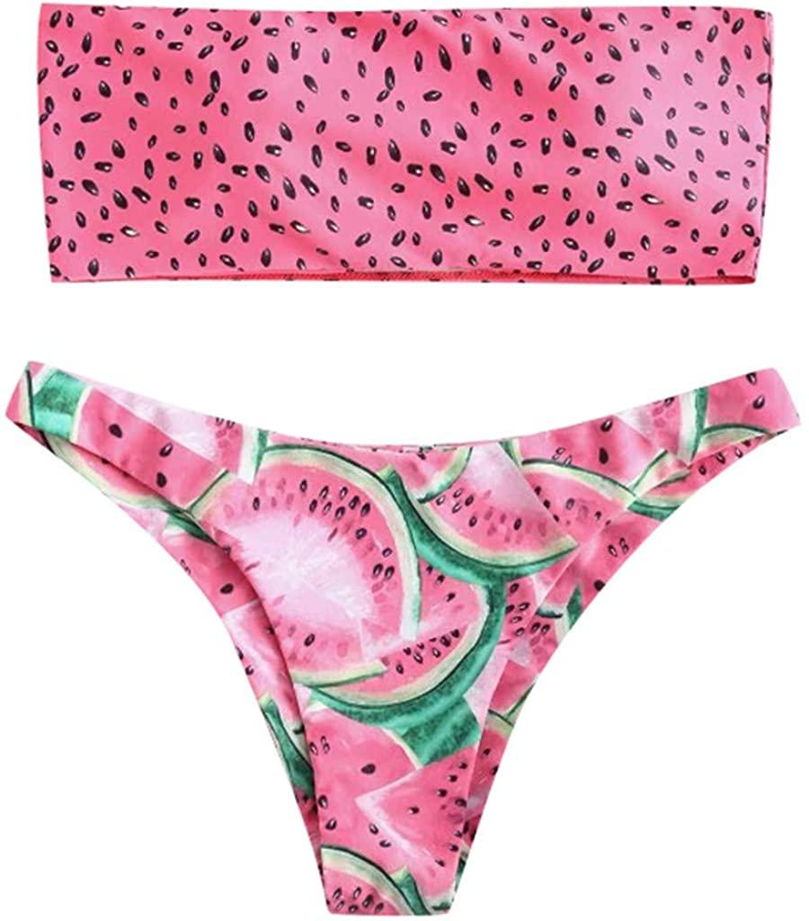 Outeck Women Two Pieces Swimsuit, 2019 New Fruit Watermelon Print Bandeau Bikini Set High Cut Cheeky Bottom Swimwear