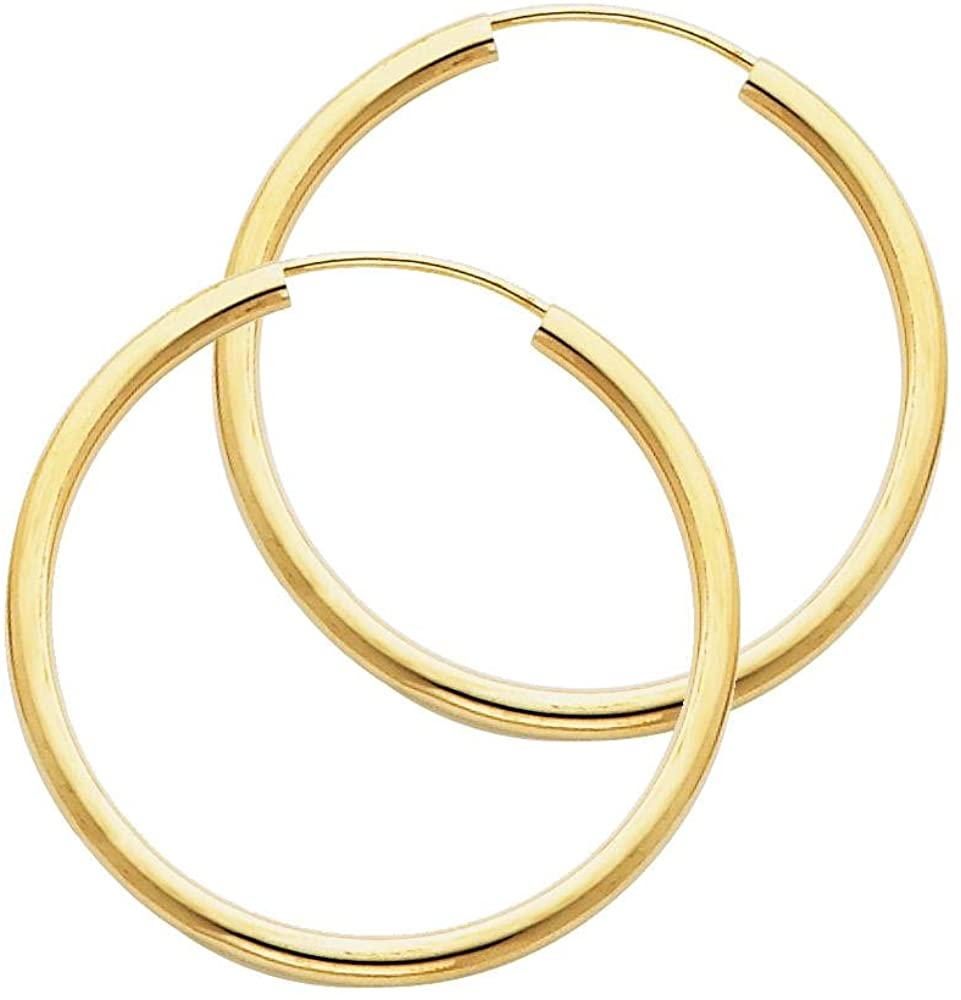 14K Yellow Gold 2 MM Thick Endless Tube Hoop Earrings For Women - 9 Sizes Available