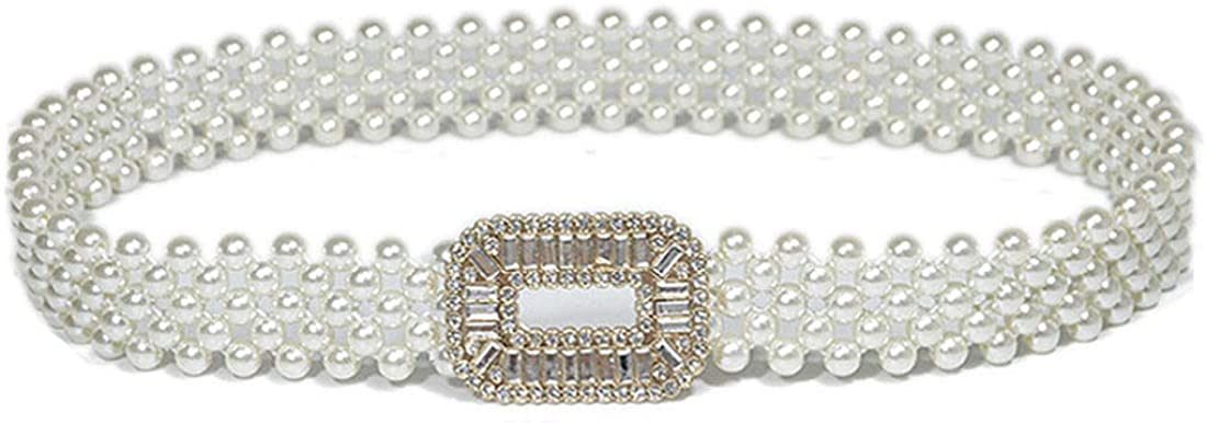 KABELIFE Luxury Pearl Stretch Belts with Rhinestone Buckle Elastic Waist Belts for Women