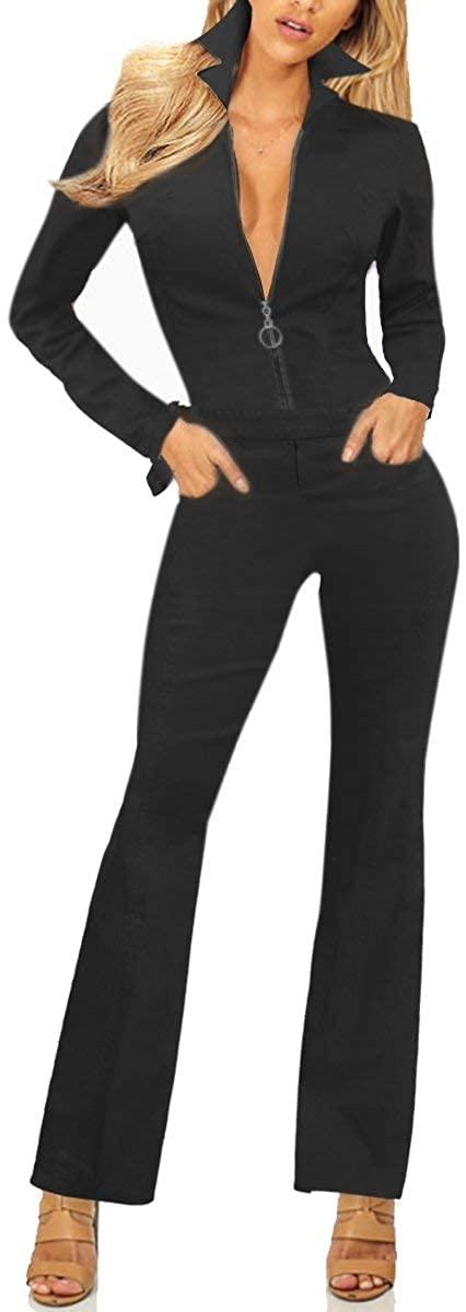 Revolt Women's Plus Size Denim Jean Blue Overalls, Pvj156319.-Black, Size Large