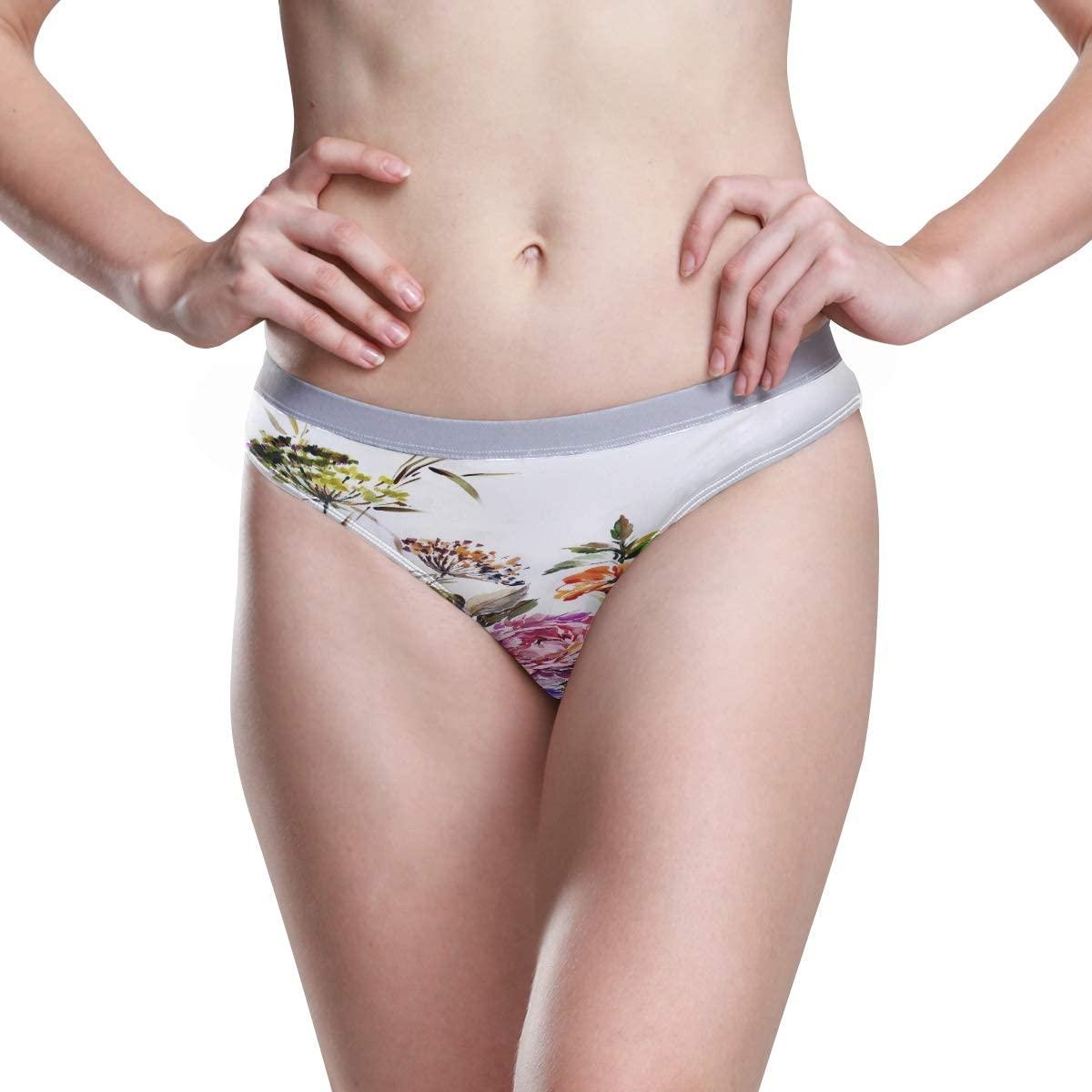 Womens Underwear Boxer Briefs Beautiful Red Pink Flower Bunch Nature Ladies High Cut Bikini Sexy Panty