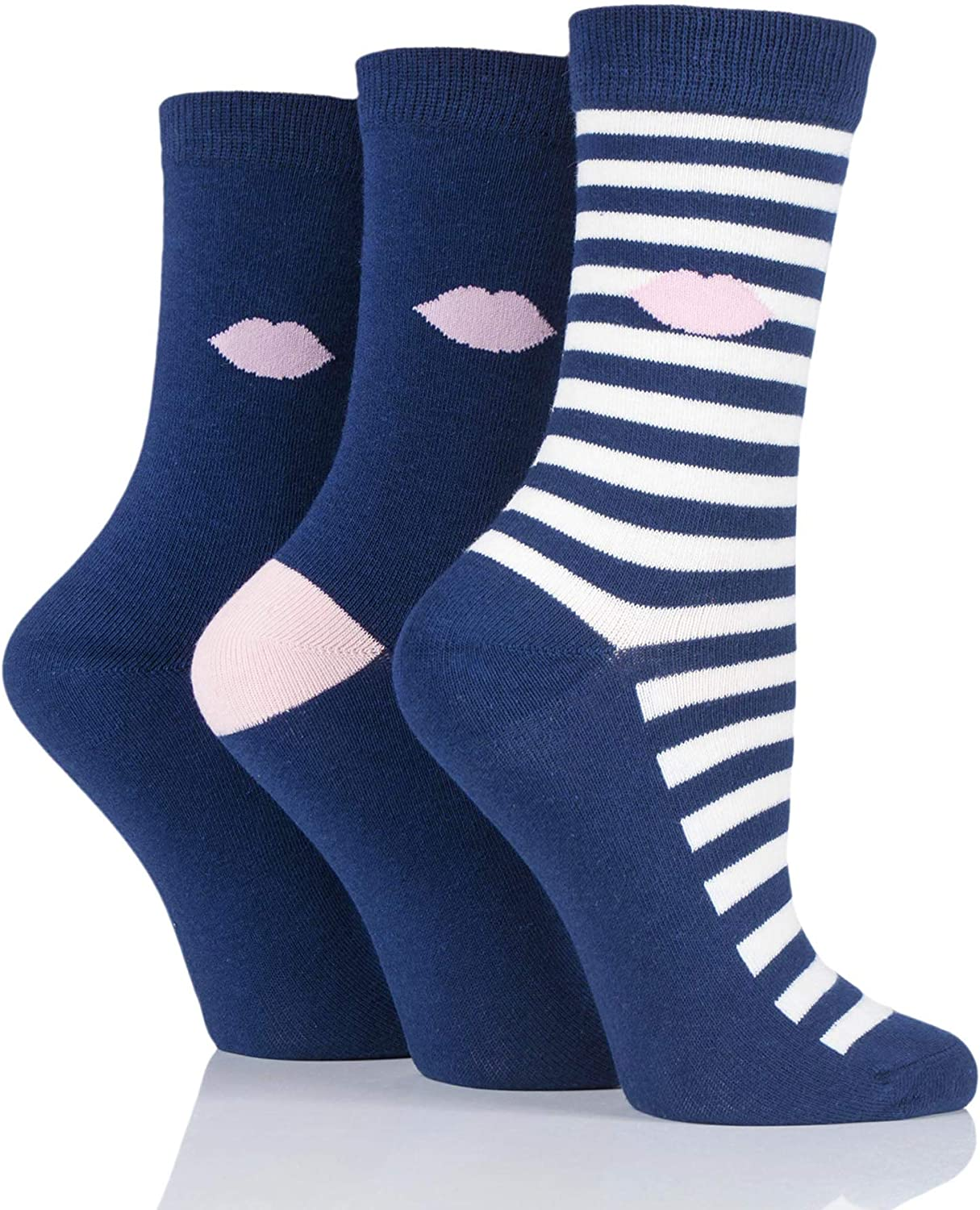 LuLu Guinness Womens Kisses Cotton Socks Pack of 3