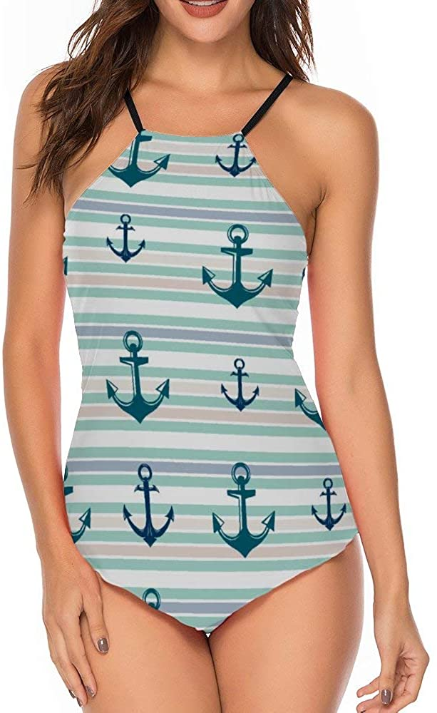 Women One Piece Swimsuit Tummy Control High Neck Halter Swimsuits Bathing Suit Anchor Stripes