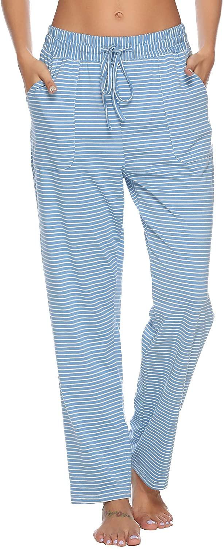 Hawiton Women's Striped Drawstring Sleep Pants Cotton Pj Lounge Bottoms with Pockets