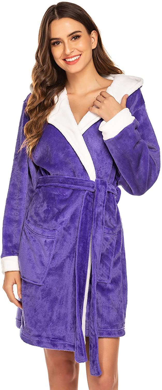 Hotouch Womens Hooded Bathrobe Fleece Robe Super Soft Plush Robe Velour Bathrobe
