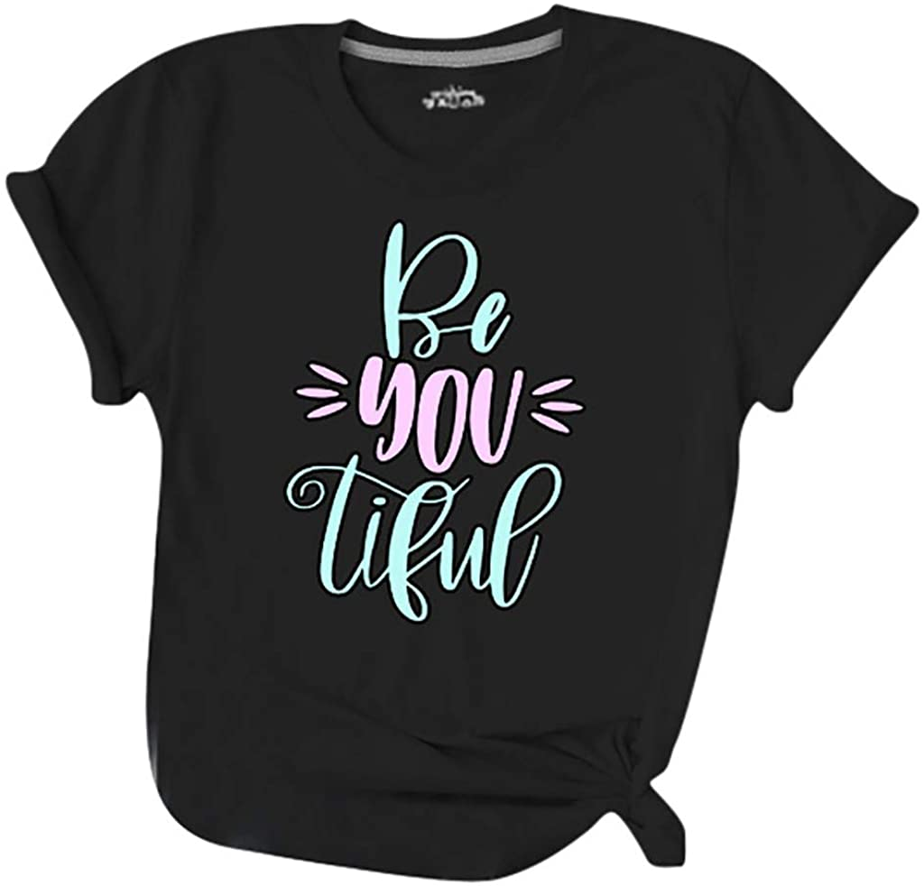 Women Classic-Fit T-Shirt Casual Roll Short Sleeve Letter Printed Ladies O-Neck Comfy Blouse Tops