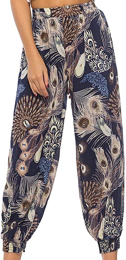 Boho Harem Pants for Women, African Floral Print Lantern Baggy Leggings Plus Size Soft Fitness Yoga Dance Pants S-2XL