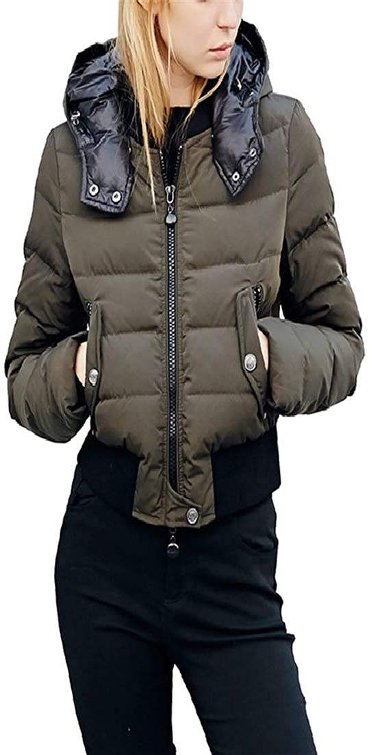 Dotoo Ms Slim Short Army Green Hooded Detachable 91%~95% White Goose Down Jacket