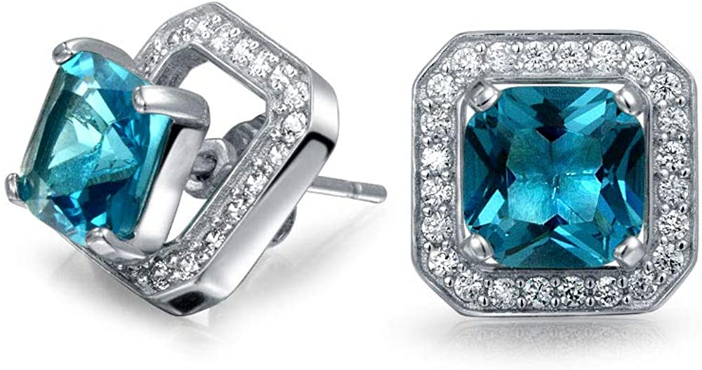 2CT London Blue Cubic Zirconia CZ Halo Square Earring Jacket Princess Cut Stud Earrings Simulated Topaz Sterling Silver