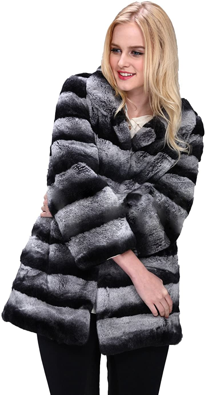 Queenshiny Women's Long Rex Rabbit Fur Coat Jacket Gradient Color Nine Points Sleeves