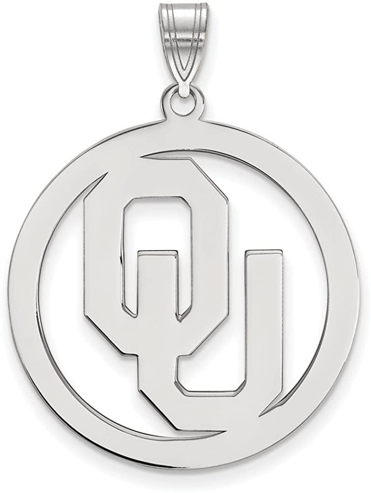 Solid 925 Sterling Silver Official University of Oklahoma XL Extra Large Big Pendant Charm in Circle - 33mm x 26mm
