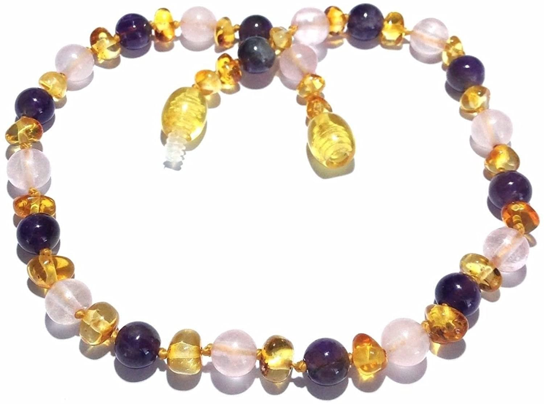 Adult Tara Honey Baltic Amber Amethyst Purple Rose Quartz Anklet Love Amber x UK