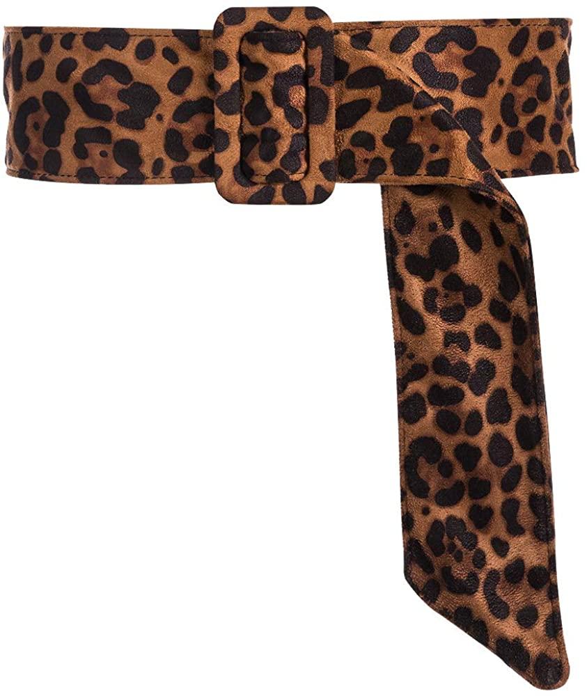 NEW OOPS Leopard Belts for Women Velvet Wide Animal Print Cheetah Obi Cinch Belt Waist Band
