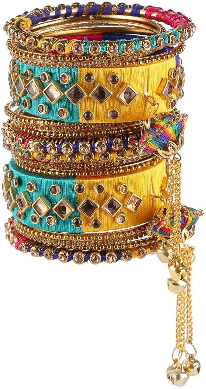 Efulgenz Fashion Jewelry Indian Bollywood Gold Plated Crystal Beaded Multicolor Silk Thread Tassel Bracelet Bangle Set (18 pc)