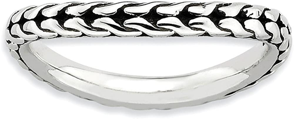 Beautiful Sterling silver 925 sterling Sterling Silver Stackable Expressions Antiqued Wave Ring