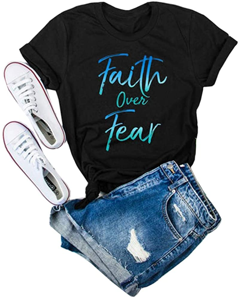 Qianxitang Women's Short Sleeve Letter Print T Shirt Faith Over Fear Graphic Tees Cotton Casual Tops Blouses