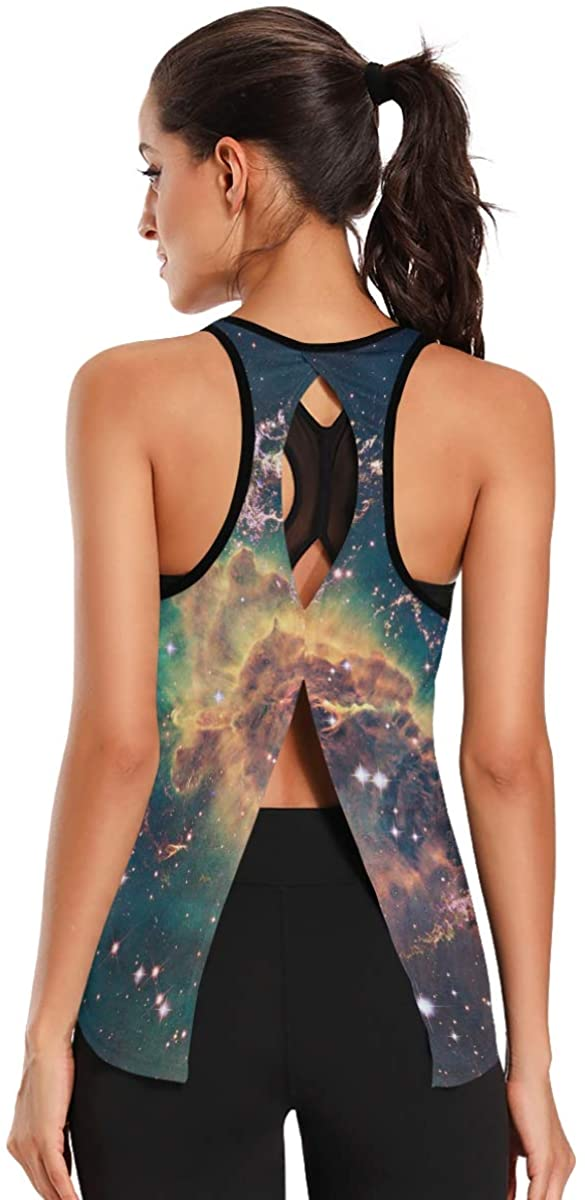 Workout Tank Tops for Women Unique Beautiful Galaxy Workout Clothes Short Design, Womens Tops