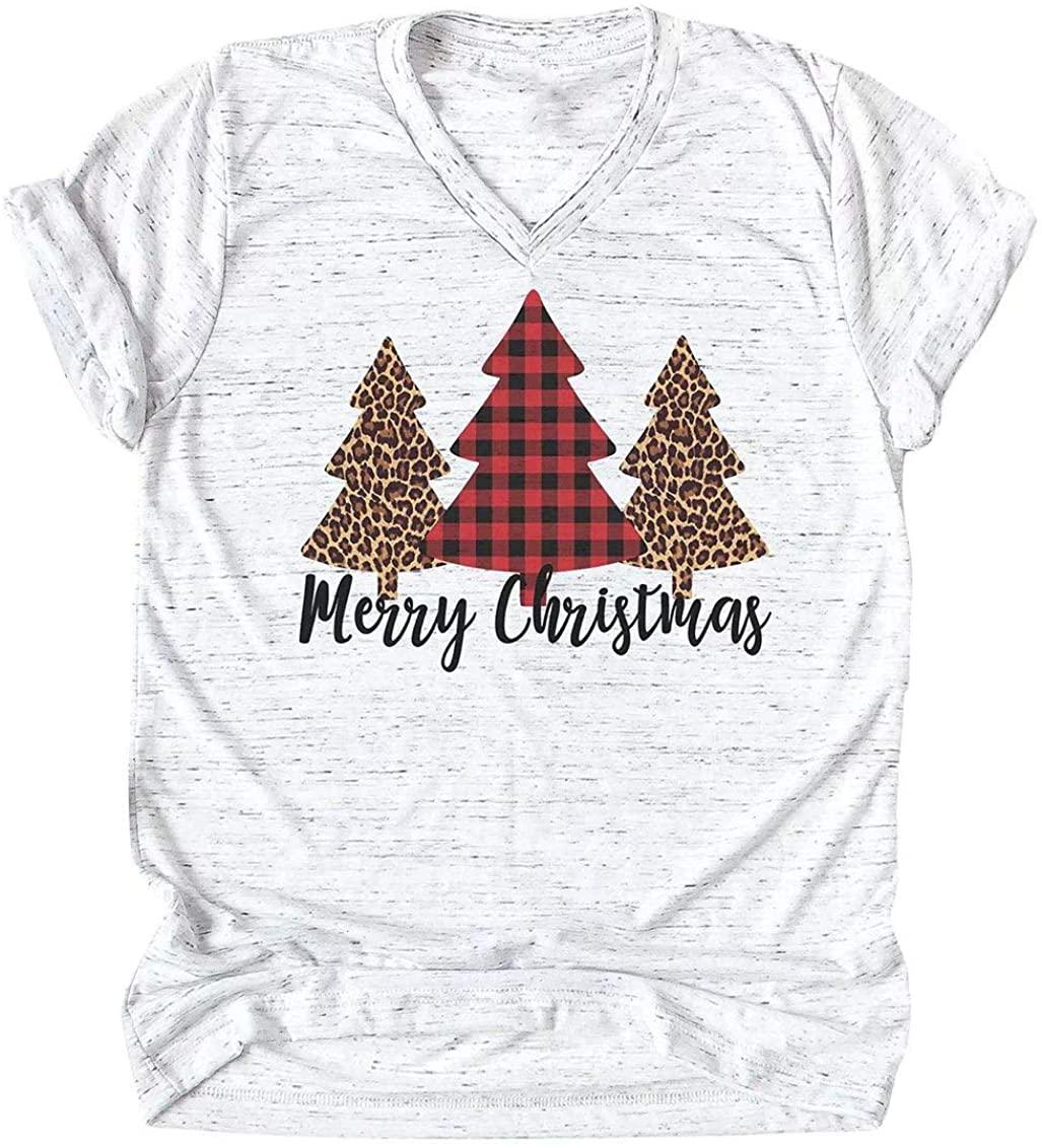 Merry Christmas Shirt Women Leopard Plaid Trees Print Casual V Neck Short Sleeve Tshirt Top