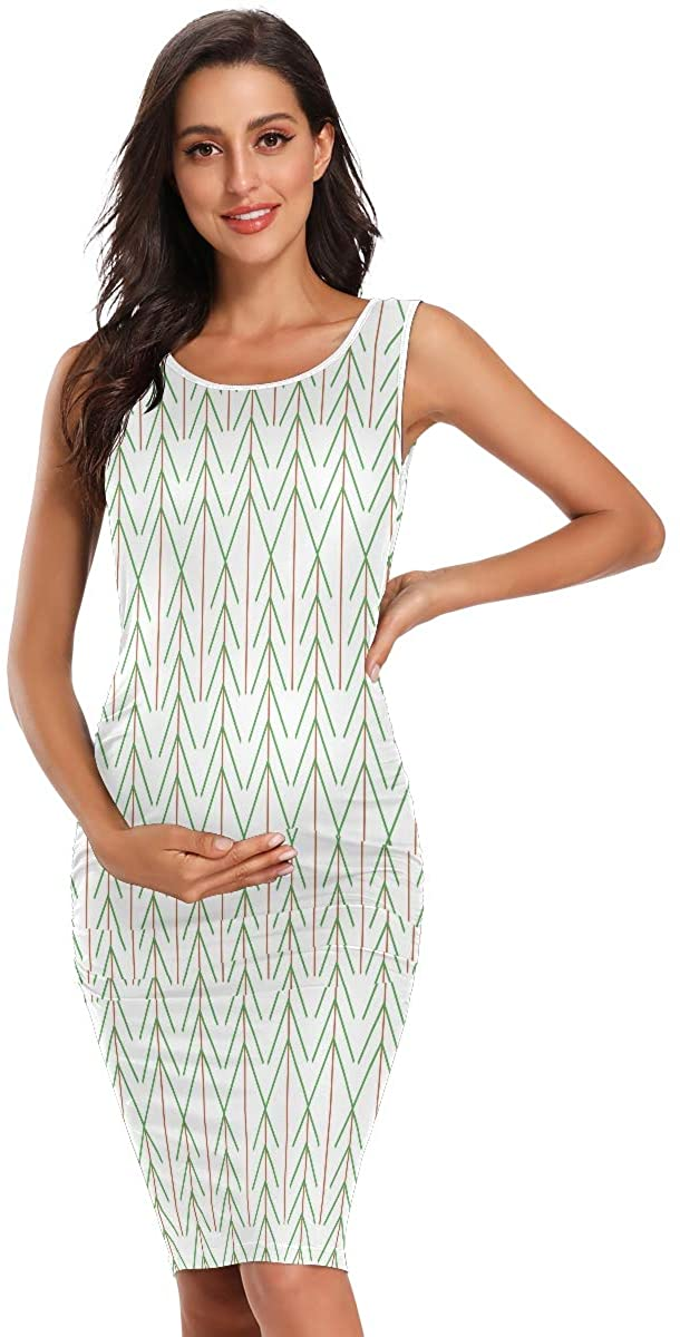 SLHFPX Green Brown Sylized Trees Womens Maternity Dresses Casual Pregnancy Dresses Bodycon Midi Mama