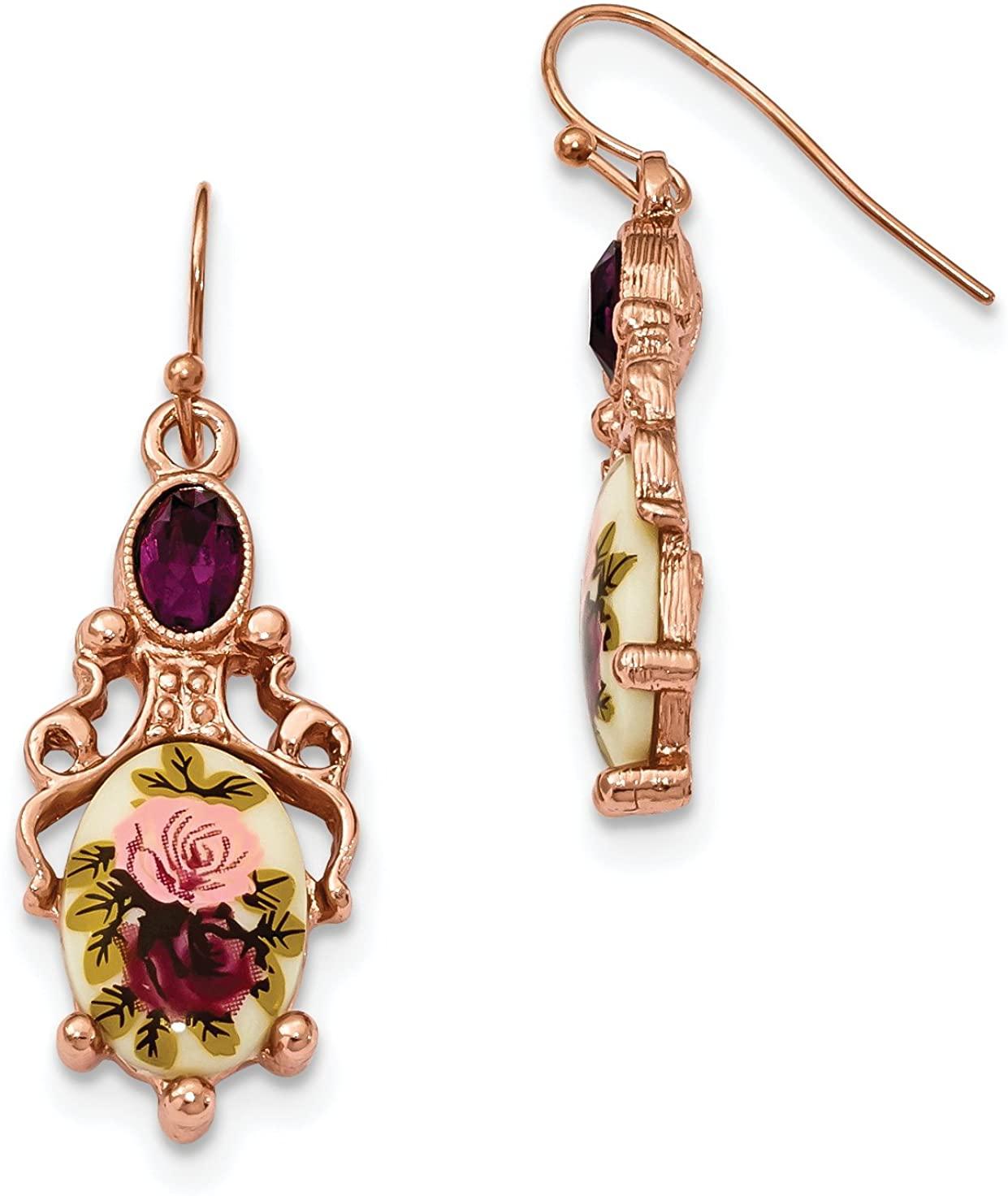 Rose-tone Dark Purple Crystal & Floral Decal Dangle Earrings