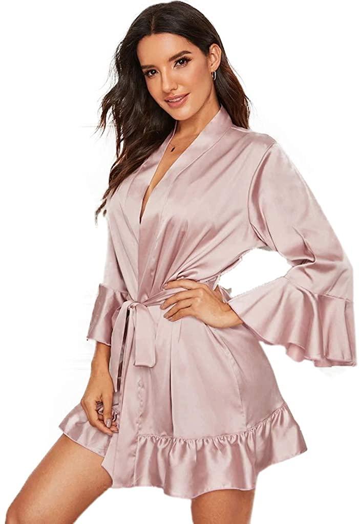 BathGown Women's Bathrobes Short Satin Kimono Robes Bridesmaids Sleepwear with Oblique V-Neck