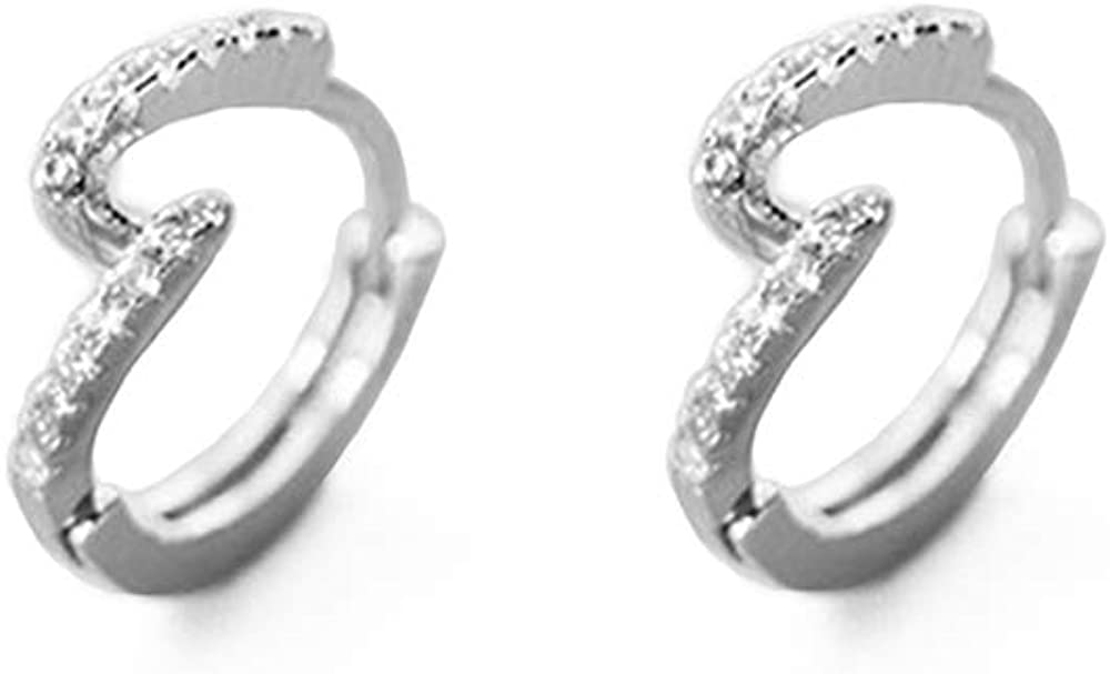 S Shape CZ Cartilage Small Hoop Earrings for Women Girls S925 Sterling Silver Mini Huggie Hoops Dainty Fashion Elegant Sleeper Cuff Hoops Hypoallergenic Jewelry Gifts for Daughter Sister Bff Birthday