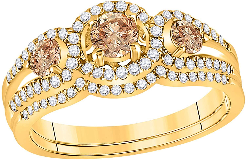 Dazzlingrock Collection 0.97 Carat (Ctw) Brown Diamond Bridal Wedding Ring Set 1 Ctw, 14k Yellow Gold